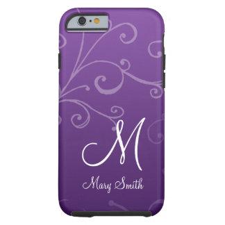Stylish Swirl Custom Monogram Purple Tough iPhone 6 Case