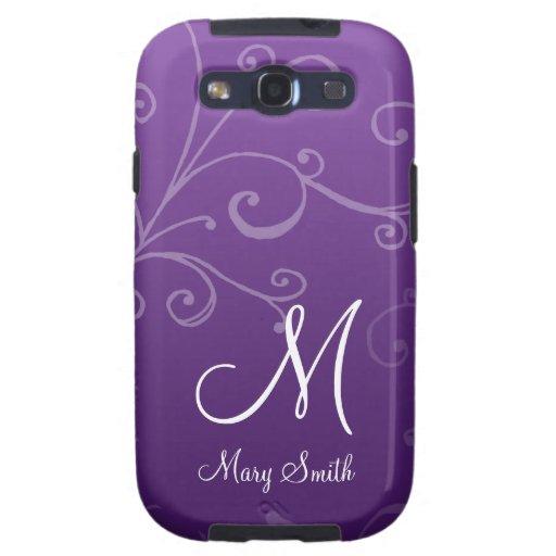 Stylish Swirl Custom Monogram Purple Galaxy S3 Covers
