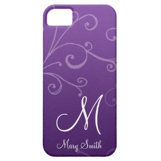 Stylish Swirl Custom Monogram Purple iPhone SE/5/5s Case