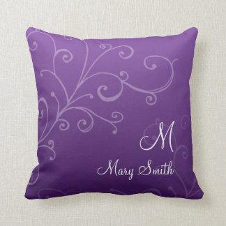 Stylish Swirl Custom Monogram Purple Throw Pillow