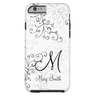 Stylish Swirl Custom Monogram Tough iPhone 6 Case