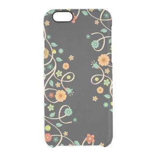 Stylish Swirl Floral Flowers - Dark Fashion Clear iPhone 6/6S Case