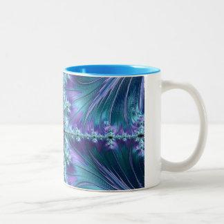 Stylish Swirl Flourish Fractal Abstract Aqua Art Two-Tone Coffee Mug