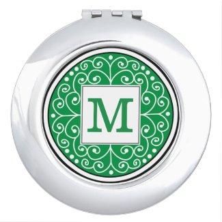 Stylish Swirl Green Custom Monogram
