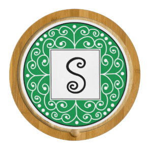 Stylish Swirl Green Custom Monogram Cheese Board