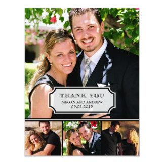 """Stylish Tab Wedding Photo Thank You Card 4.25"""" X 5.5"""" Invitation Card"""