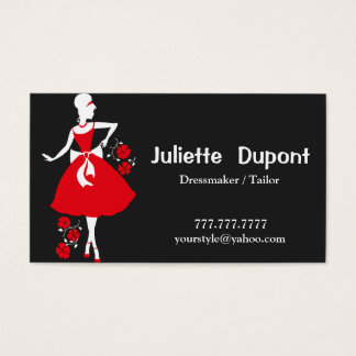 Stylish Tailor Dressmaker black Business Card