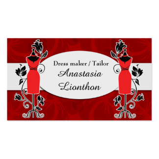 Stylish Tailor Dressmaker red Business Card