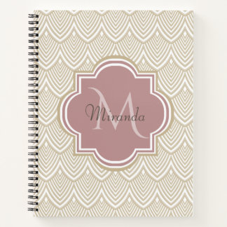 Stylish Tan Arched Scallops Mauve Monogram Name Notebook