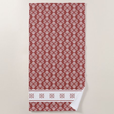 Stylish tan colored damask printed beach towel