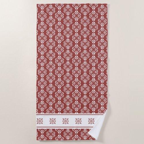 Stylish tan colored damask printed beach towel