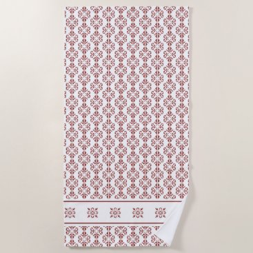 Beach Themed Stylish tan colored damask printed beach towel