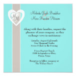 Stylish Taupe and Aqua Blue Wedding Invitation