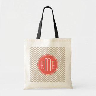 Stylish Taupe and Coral Custom Monogram Canvas Bags