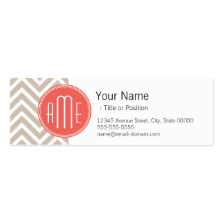 Stylish Taupe and Coral Custom Monogram Double-Sided Mini Business Cards (Pack Of 20)
