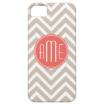 Stylish Taupe and Coral Custom Monogram iPhone 5 Cases
