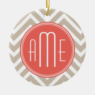 Stylish Taupe and Coral Custom Monogram Ceramic Ornament