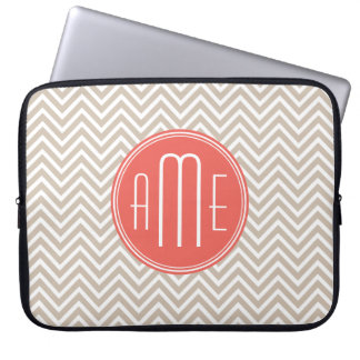Stylish Taupe and Coral Custom Monogram Computer Sleeve