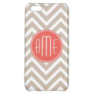 Stylish Taupe and Coral Custom Monogram Cover For iPhone 5C
