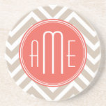 "Stylish Taupe and Coral Custom Monogram Drink Coaster<br><div class=""desc""></div>"