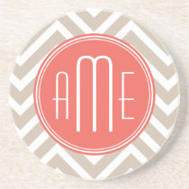 Stylish Taupe and Coral Custom Monogram Drink Coaster