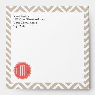 Stylish Taupe and Coral Custom Monogram Envelope