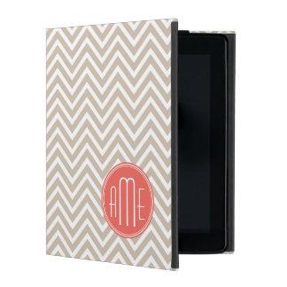 Stylish Taupe and Coral Custom Monogram iPad Folio Case