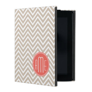 Stylish Taupe and Coral Custom Monogram iPad Folio Case