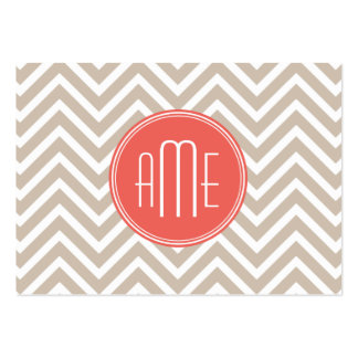 Stylish Taupe and Coral Custom Monogram Large Business Card
