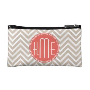 Stylish Taupe and Coral Custom Monogram Makeup Bag at Zazzle