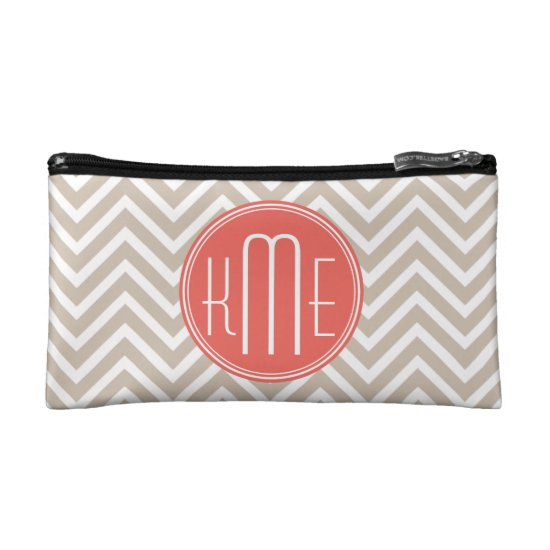 Stylish Taupe and Coral Custom Monogram Makeup Bag