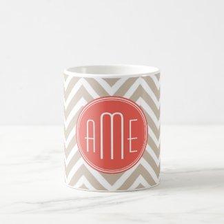 Stylish Taupe and Coral Custom Monogram Classic White Coffee Mug