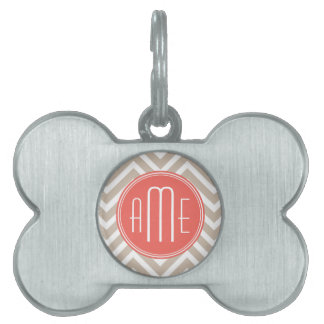 Stylish Taupe and Coral Custom Monogram Pet Name Tag