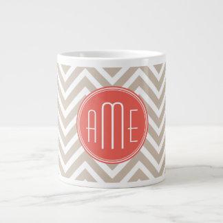 Stylish Taupe and Coral Custom Monogram 20 Oz Large Ceramic Coffee Mug