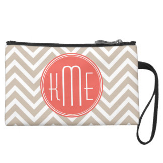 Stylish Taupe and Coral Custom Monogram Suede Wristlet Wallet