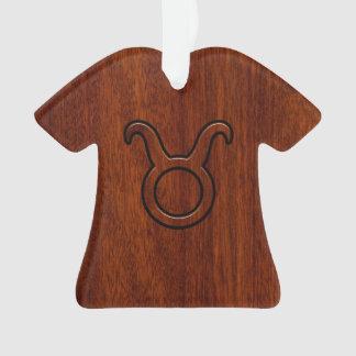 Stylish Taurus Zodiac Sign on Mahogany like print Ornament