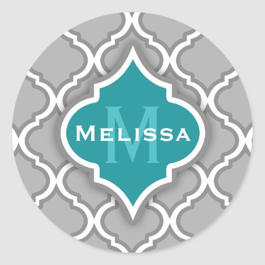 Stylish Teal and Gray Moroccan Tile Pattern Classic Round Sticker
