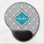 "Stylish Teal and Gray Moroccan Tile Pattern Gel Mouse Pad<br><div class=""desc"">Elegant light grey and white Moroccan lattice pattern featuring a stylish teal blue tile nameplate. A chic,  trendy,  girly trellis tile pattern design that would make a cool customized gift.</div>"