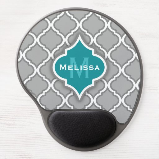 Stylish Teal and Gray Moroccan Tile Pattern Gel Mouse Pad