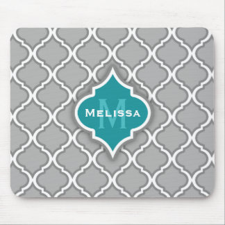 Stylish Teal and Gray Moroccan Tile Pattern Mouse Pad