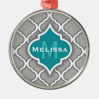 Stylish Teal and Gray Moroccan Tile Pattern Christmas Tree Ornament