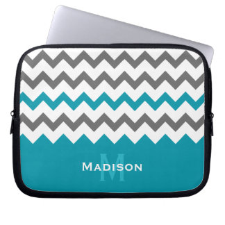 Stylish Teal and Grey Chevron Pattern Laptop Sleeves