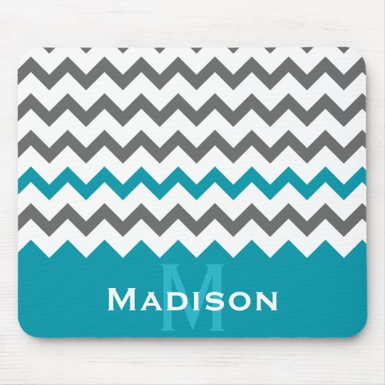Stylish Teal and Grey Chevron Pattern Mouse Pad