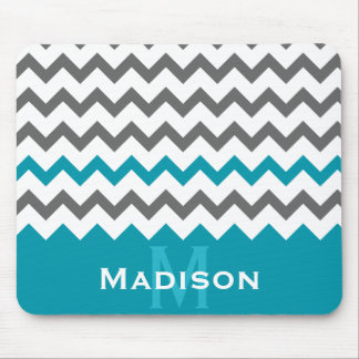 Stylish Teal and Grey Chevron Pattern Mouse Pads