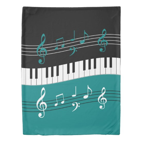Stylish Teal Black White Piano Keys and Notes Duvet Cover