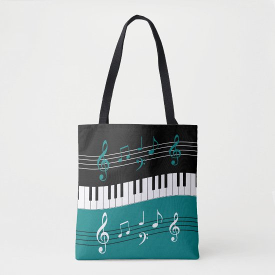 Stylish Teal Black White Piano Keys and Notes Tote Bag