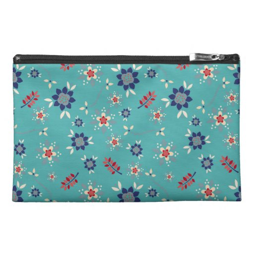 Stylish Teal Blue And Red Floral Pattern Travel Accessory Bags