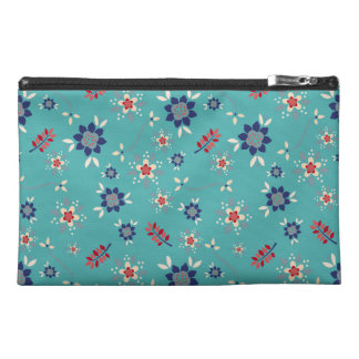 Stylish Teal Blue And Red Floral Pattern Travel Accessory Bag