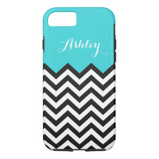 Stylish Teal Blue Chevron - Personalized Monogram iPhone 8/7 Case