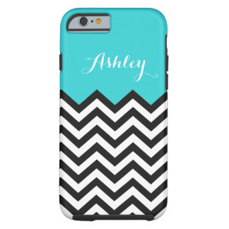 Stylish Teal Blue Chevron - Personalized Monogram Tough iPhone 6 Case